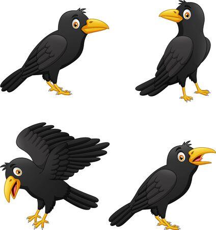 Illustration pour Set of cartoon crow with different expressions. vector illustration - image libre de droit