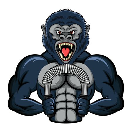 Illustration pour Mascot a strong gorilla performs an exercise with a power twister biceps. vector illustration - image libre de droit