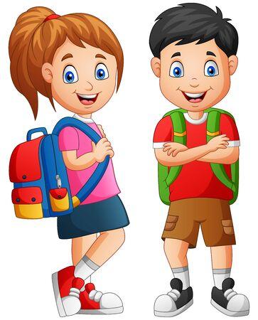 Illustration pour Cartoon school kid boy and girl. Vector illustration - image libre de droit