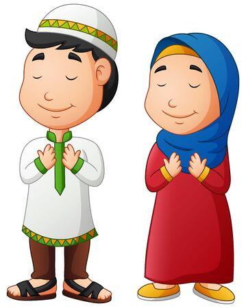 Illustration pour Muslim boy and girl Praying. Vector illustration - image libre de droit