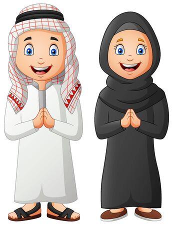 Illustration pour Cute arabic kids cartoon. Vector illustration - image libre de droit