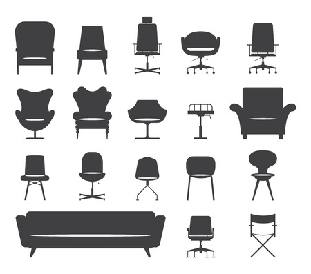 Icon set of silhouette modern furniture chair and sofa . Vector. Illustration