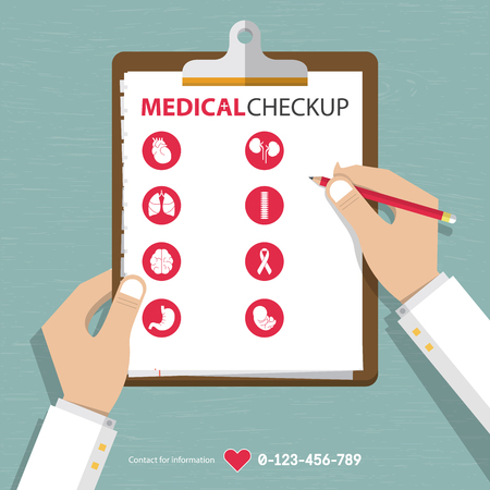 Foto de infographics of medical checkup report data in flat design. Vector Illustration - Imagen libre de derechos