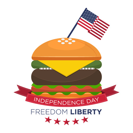 Happy American independence day, United States flag on hamburger. Fourth of July, July 4th.