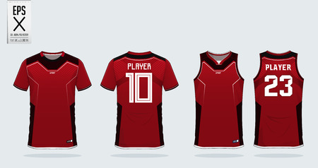 Red t-shirt sport design template for soccer jersey, football kit and tank top for basketball jersey. Sport uniform in front and back view. Sport shirt mock up for sport club. Vector Illustration.