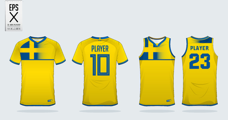 Blue and yellow t-shirt sport design template for soccer jersey, football kit and tank top for basketball jersey. Sport uniform in front and back view. Sport shirt mock up for sport club. Vector Illustration.
