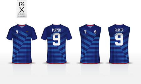 Blue stripe pattern t-shirt sport template design for soccer jersey, football kit and tank top for basketball jersey. Sport uniform in front and back view. Sport shirt mock up for sport club. Vector Illustration.