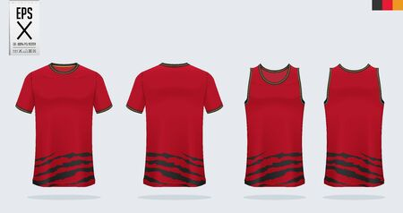 T-shirt sport mockup template design for soccer jersey, football kit, tank top for basketball jersey and running singlet. Sport uniform in front and back view.  Vector Illustration.