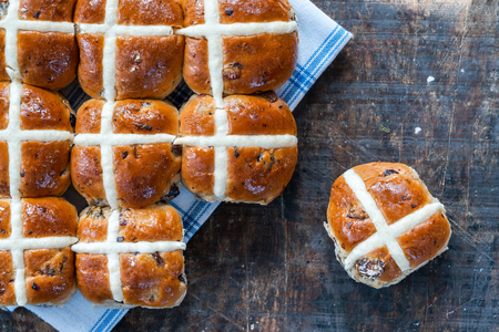 Photo for Hot cross buns - traditional Easter food - top view - Royalty Free Image