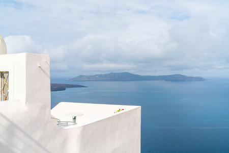 Photo for View of volcano caldera and Aegean Sea in Fira, Santorini landscape, Greece - Royalty Free Image