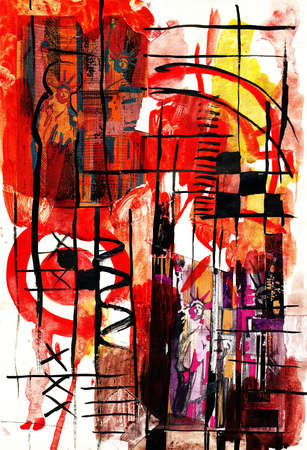 Abstract composition with Statue of Liberty