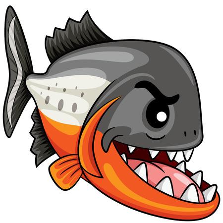 Ilustración de Illustration of cute cartoon piranha. - Imagen libre de derechos