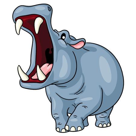 Ilustración de Hippo Cute Cartoon - Imagen libre de derechos