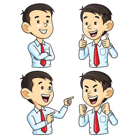 Ilustración de Illustration cartoon of cute business man cartoon character with different gesture. - Imagen libre de derechos