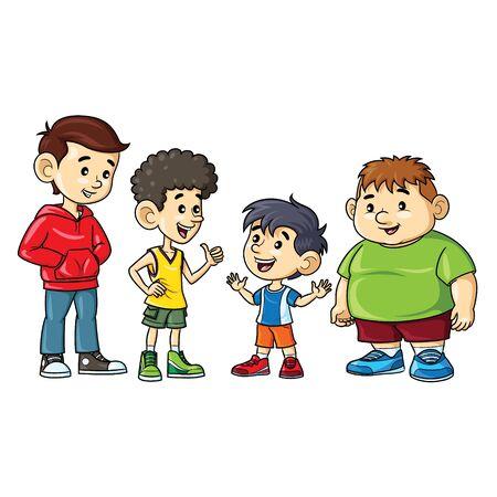 Vektor für Illustration cartoon of cute a boys fat, skinny, tall, and short. - Lizenzfreies Bild