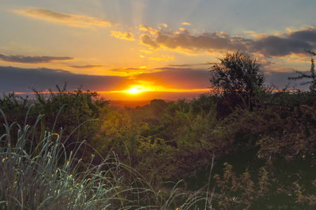 Beautiful sunset landscape in the hills of Cordoba, Argentina