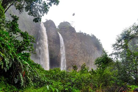 Waterfall Manto de la Novia in Banos de Agua Santa, Ecuador
