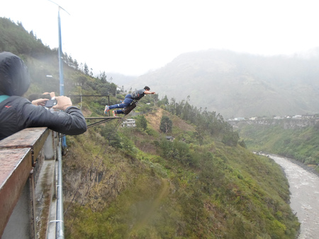 BANOS, ECUADOR - MARCH 25, 2016:  Unidentified people at bridge jumping (puenting) on San Francisco Bridge on February 26, 2014 in Banos, Ecuador. Banos is popular for its outdoor activities such as bridge jumping. The jump from this bridge is 45 meters