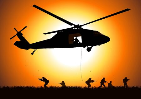 helicopter is dropping the troop