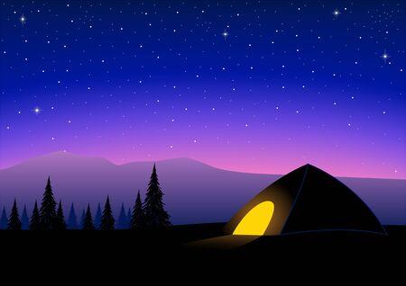Foto für Silhouette of a tent on top of a mountain - Lizenzfreies Bild