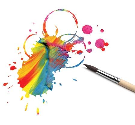 Photo pour artist brush and abstract paint blot - image libre de droit