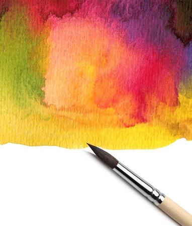 Photo pour Watercolor painted background with brush - image libre de droit