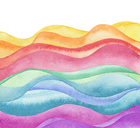 Abstract wave watercolor painted background. Paper texture. Isolated.
