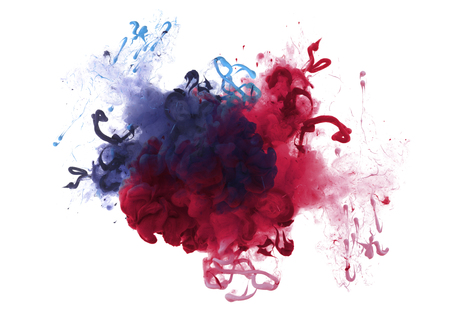 Collection of acrylic colors in water. Ink blot. Abstract background. Isolation.