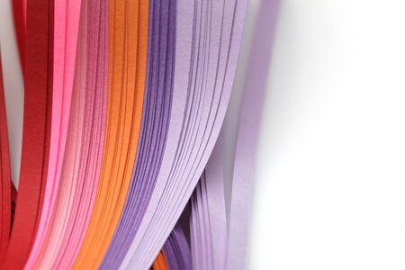 Photo pour Abstract gradient rainbow color wave curl strip paper background. Template for prints, posters, cards.  - image libre de droit
