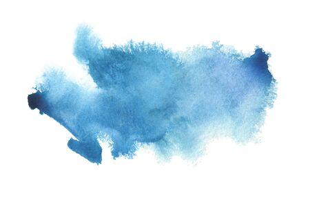 Photo pour Abstract blue watercolor blot painted background. Texture paper. Isolated. - image libre de droit