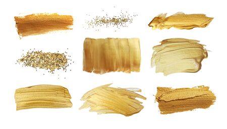 Photo pour Gold (bronze) glittering color smear brush stroke stain blot on white background. Abstract Paint texture. Collection.  - image libre de droit