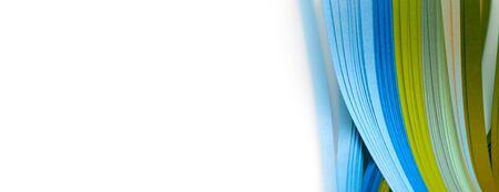 Photo pour Abstract gradient blue color wave curl strip paper horizontal background.  - image libre de droit