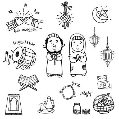 Illustration pour doodle cartoon themed eid mubarak, the great day of moslem, line art vector illustration - image libre de droit