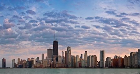 Pink Chicago Skyline