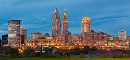 Photo for Cleveland. Panoramic image of Cleveland downtown at twilight blue hour.  - Royalty Free Image