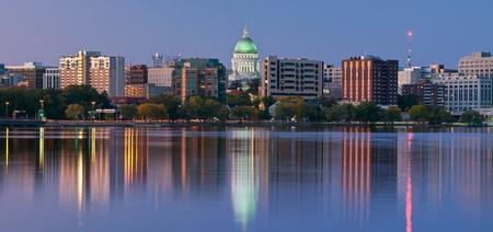 Photo for Madison. Panoramic image of Madison (Wisconsin) at twilight.  - Royalty Free Image