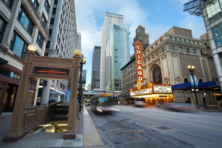 Chicago theater. Chicago, Illinois, USA - April 5, 2012: The Chicago Theatre is a landmark theater located in the Loop area of Chicago, Illinois.