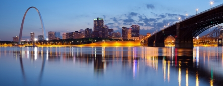 City of St. Louis skyline. Panoramic image of St. Louis downtown with Gateway Arch at twilight.