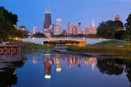 Photo for Lincoln Park, Chicago. Image of the Chicago downtown skyline at dusk. Lincoln Park in the foreground. - Royalty Free Image