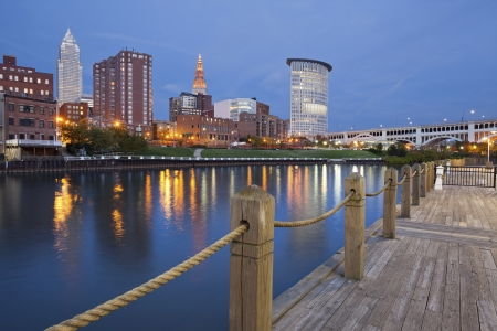 Photo for Cleveland. Image of Cleveland downtown at twilight blue hour. - Royalty Free Image