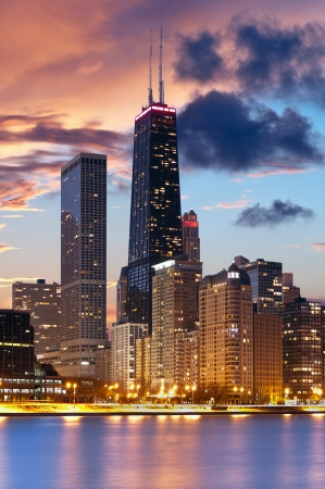 Chicago skyline  Image of Chicago downtown skyline during beautiful sunset
