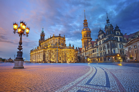 Dresden  Image of Dresden, Germany during twilight blue hour