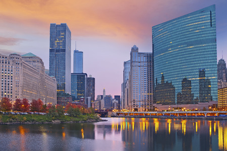 Chicago. Image of the city of Chicago during sunset.