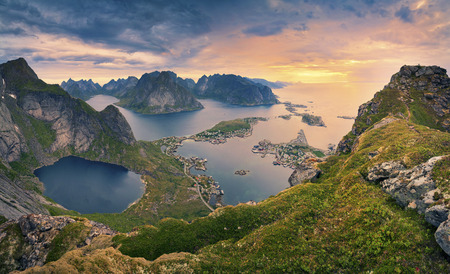 Photo for Norway. View from Reinebringen at Lofoten Islands located in Norway during summer sunrise. - Royalty Free Image