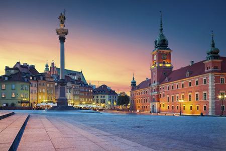 Warsaw. Image of Old Town Warsaw, Poland during sunset.