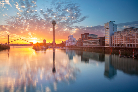 Photo for Dusseldorf, Germany.  Dusseldorf, Germany with the Media Harbor in the Rhine river, during sunrise, Dusseldorf, Germany. - Royalty Free Image