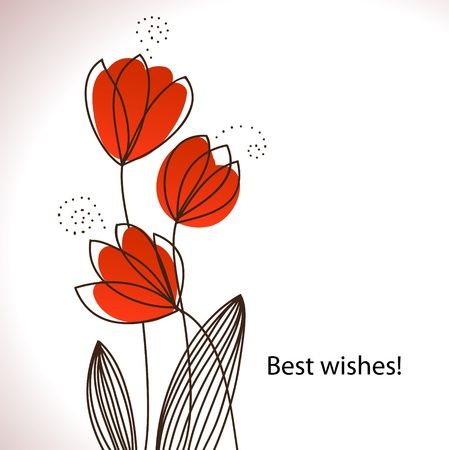 Card with stylized flowers  Retro style