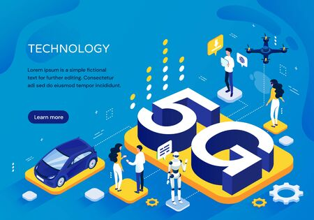 Photo pour 5G cellular network concept, pictographic Template for increased speed of communication with people at various activities, a robot and car around 3D lettering, isometric vector illustration - image libre de droit