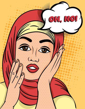 Ilustración de Pretty Muslim Woman in hijab exclaiming - Oh, No raising her hands to her cheeks with a concerned expression, colorful Pop Art Vector illustration. - Imagen libre de derechos