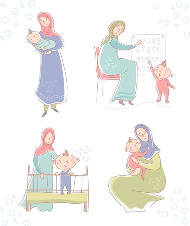 Set with young muslim mother wearing a headscarf and baby cradling a newborn, hugging a daughter on her lap, son standing in a crib in the nursery and teaching a small toddler to count with numbers